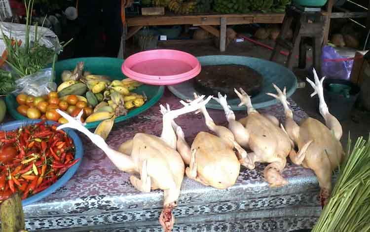 Pedagang daging ayam potong di Kasongan.