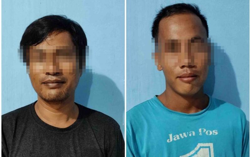 Dua tersangka kasus sabu, SA dan SMR yang diamankan Polres Barito Timur.