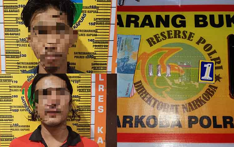 Pelaku dan barang bukti kasus sabu saat diamankan Satresnarkoba Polres Kapuas