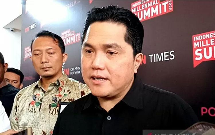 Menteri BUMN Erick Thohir saat menyampaikan keterangan di Jakarta, Jumat (17/1/2020). ANTARA/Aji Cak