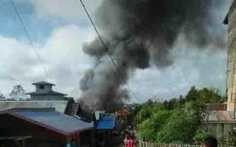 Kebakaran di Desa Muara Laung II, Kecamatan Laung Tuhup, Kabupaten Murung Raya, Selasa, 21 Januari 2020.