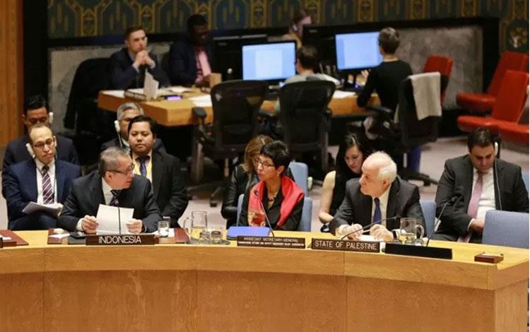 Debat terbuka Dewan Keamanan PBB mengenai situasi di Timur Tengah yang diselenggarakan di New York,