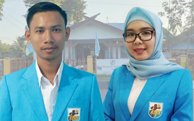 Ketua Panitia Pelantukan DPD KNPI Kapuas Indah Ayu Lestari didampingi Ketua DPD KNPI Kapuas Irfan.