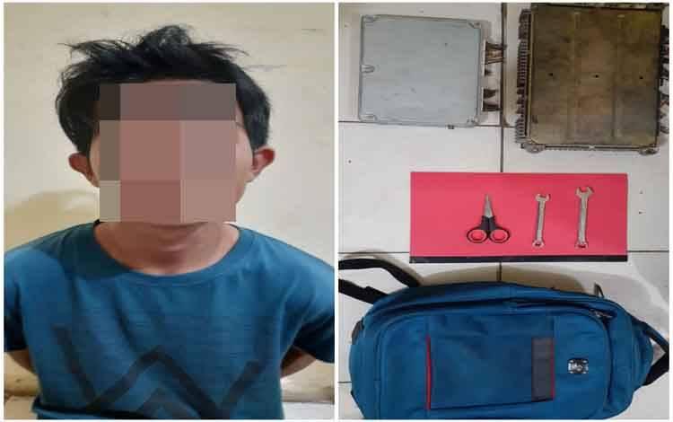 Ricki pelaku pencuri alat berat yang ditangkap Jajaran Polsek Dusun Tengah