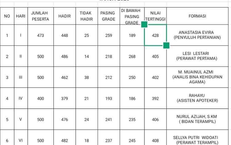 Daftar nama peserta tes CPNS Palangka Raya yang meraih nilai tertinggi.