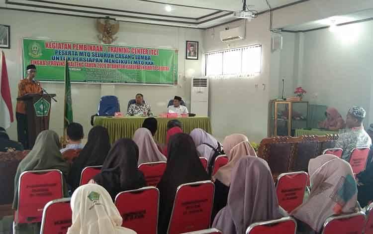 Pembukaan pemusatan latihan yang digelar LPTQ Palangka Raya menghadapi MTQ Provinsi Kalteng di Buntok.
