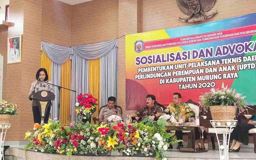 Sosialisasi pembentukan UPTD Pelringungan Perempuan dan Anak Kabupaten Murung Raya, Kamis, 20 Februari 2020.