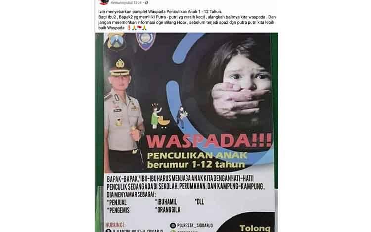 Postingan H yang sumber informasinya dinyatakan hoax