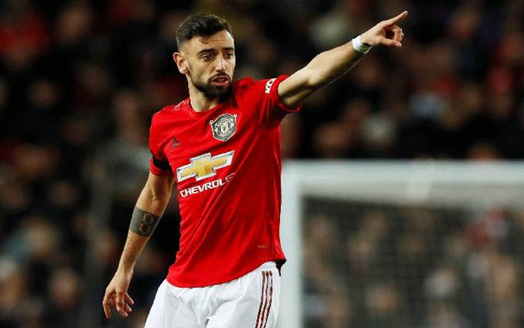 Pemain Manchester United, Bruno Fernandes. Reuters