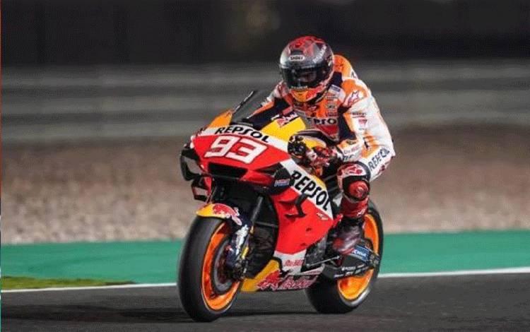 Pembalap tim Repsol Honda Marc Marquez menjalani tes pramusim MotoGP di Sirkuit Losail, Qatar, Minggu (23/2/2020) (foto : ANTARA/HO-hondaracingcorporation.com)