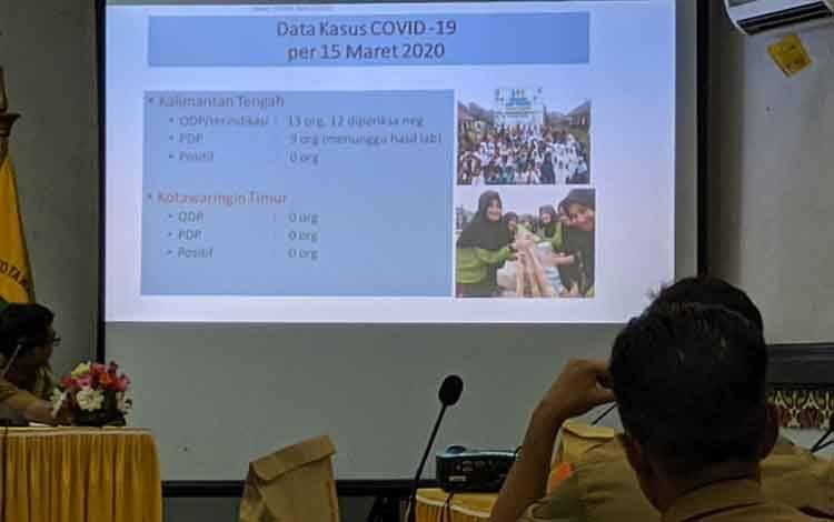 Pemkab Kotim saat melaksanakan rapat penetapan status terkait Covid-19. Saat ini, tidak ada masyarakat Kotim yang terjangkit virus tersebut, Senin, 16 Maret 2020.