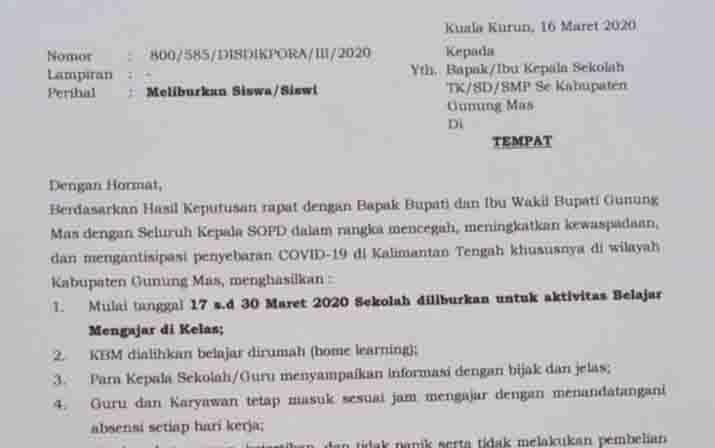 Dinas Pendidikan Gunung Mas Keluarkan Surat Edaran Libur Sekolah