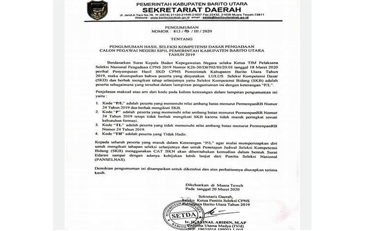 Pengumuman hasil seleksi SKD CPNS KabupatenBarito Utara tahun 2019.