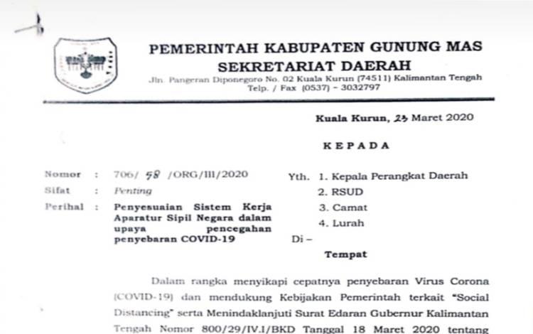 Surat Sekretariat Daerah Kabupaten Gunung Mas antisipasi penyebaran wabah Covid-19