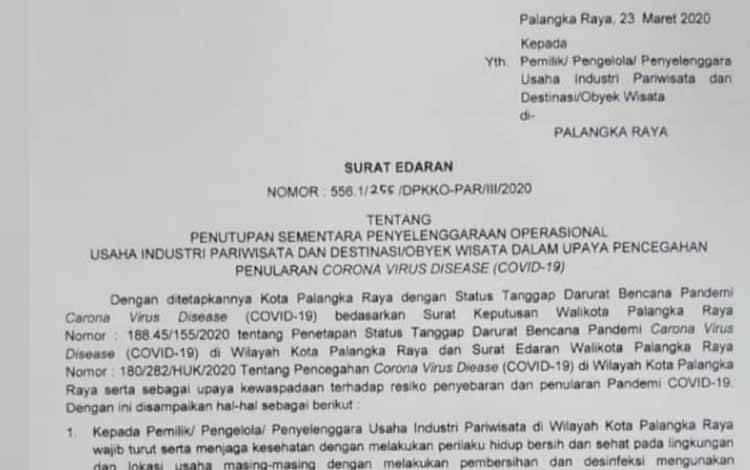 Surat edaran Walikota Palangka Raya tentang penutupan tempat hiburan dan usaha wisata.