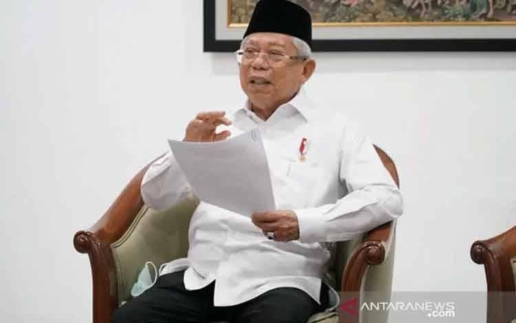 Wakil Presiden Maruf Amin di Rumah Dinas Wapres Jakarta, Selasa (24/3/2020). (foto : ANTARA/Asdep Komunikasi dan Informasi Publik (KIP) Setwapres)