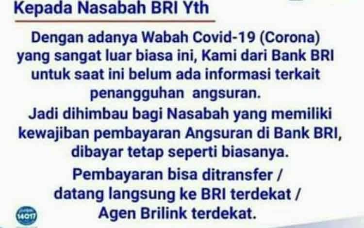 Pemberitahuan dari BRI yang beredar di grup-grup masyarakat.