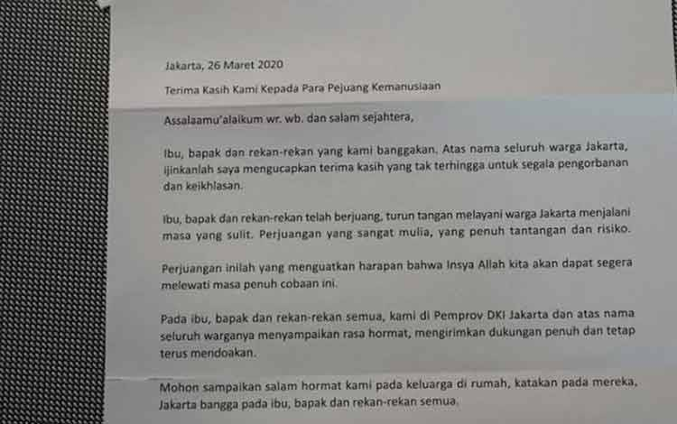 Foto surat Anies Baswedan buat tim medis yang menangani pasien Virus Corona (COVID-19). (ANTARA/HO-Humas DKI Jakarta)