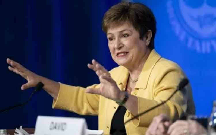 Direktur Pelaksana Dana Moneter Internasional (IMF) Kristalina Georgieva berbicara pada konferensi pers di Washington D.C., Amerika Serikat, pada 4 Maret 2020. (Xinhua / Liu Jie)