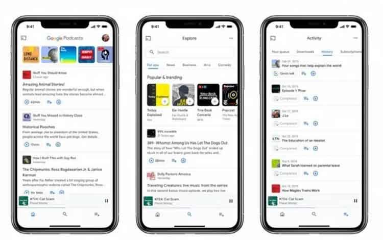 Tampilan aplikasi Google Podcasts di perangkat iOS. (Blog.google)