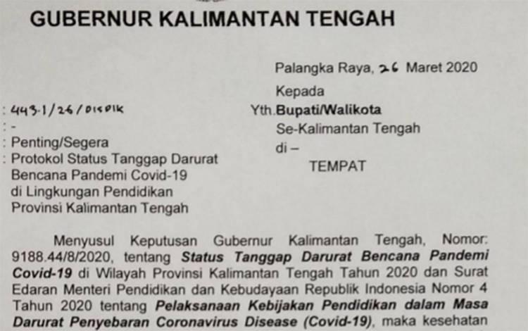 Surat Keputusan Gubernur Kalteng untuk bupati dan wali kota di Kalteng terkait perpanjangan waktu libur sekolah