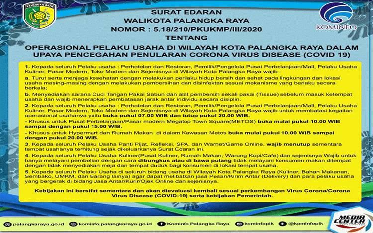Edaran terbaru Wali Kota Palangka Raya tentang upaya pencegahan Covid-19.