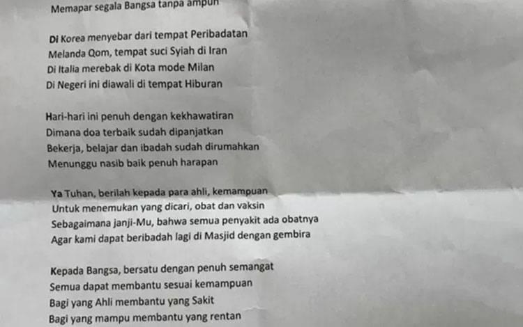 Puisi COVID-19 Jusuf Kalla yang di unggah di akun media sosial Instagram. ANTARA/akun Instagram JK