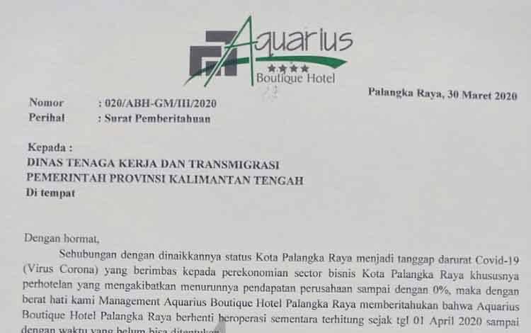 Surat Pemberitahuan penghentian operasional Aquarius Boutique Hotel Palangka Raya ditujukan kepada Disnakertrans Provinsi Kalteng