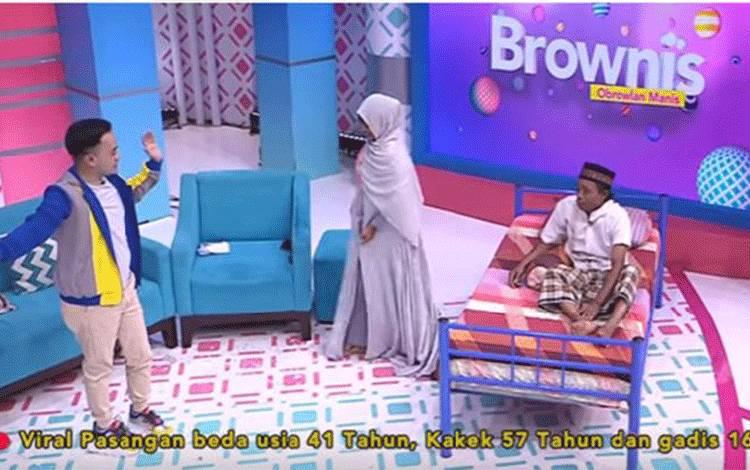 Acara Brownis TRANS TV dengan bintang tamu kakek dan istrinya yang berusia 16 tahun. (YouTube -@TRANS TV Official)