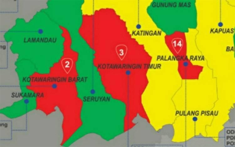 Data zona merah peneyebaran Covid-19 Kalimantan Tengah.