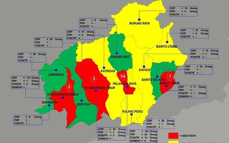 Ini Sebaran ODP dan PDP Tanggal 7 April 2020 Tiap Kabupaten/Kota se- Kalteng