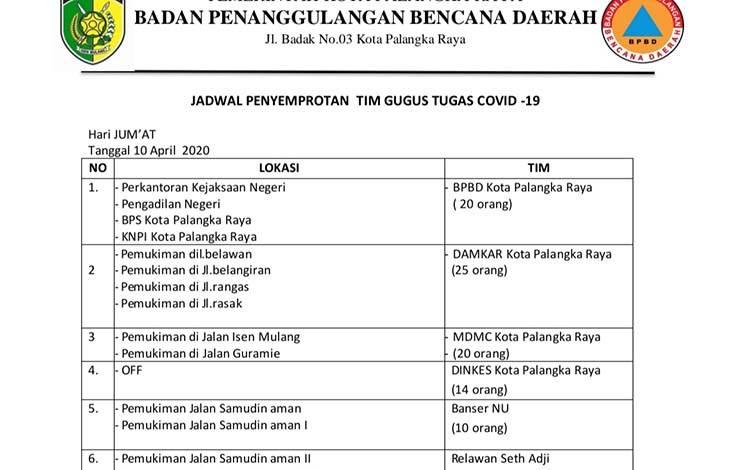 Jadwal penyemprotan disinfektanSatgas Covid-19 Palangka Raya yang akan dilaksanakan pada Jumat 10 April 2020