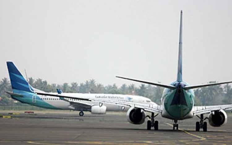 Pesawat Garuda Indonesia di Bandara Soekarno-Hatta, Tangerang. (foto : tempo.co)