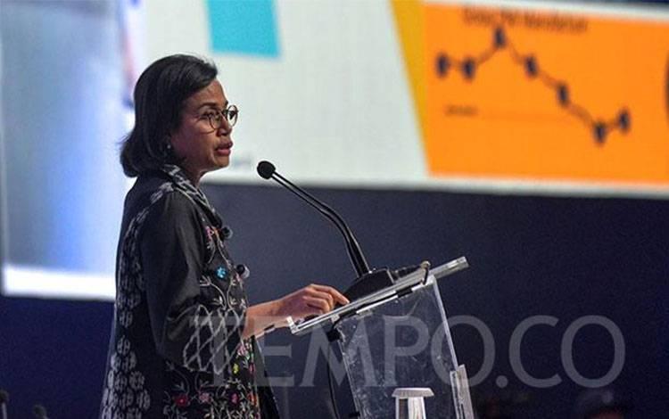 Menkeu Sri Mulyani Indrawati memberikan pidato pada acara Mandiri Investment Forum 2020 Indonesia : Advancing Investment-Led Growth, di Jakarta, Rabu, 5 Februari 2020. Tempo/Tony Hartawan