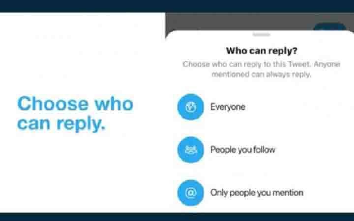 Twitter uji coba cara untuk batasi tweet balasan agar pengguna bisa fokus di percakapan yang lebih bijaksana dan menghindari 'pembuat onar' di internet. (foto : twitter.com/twitter)