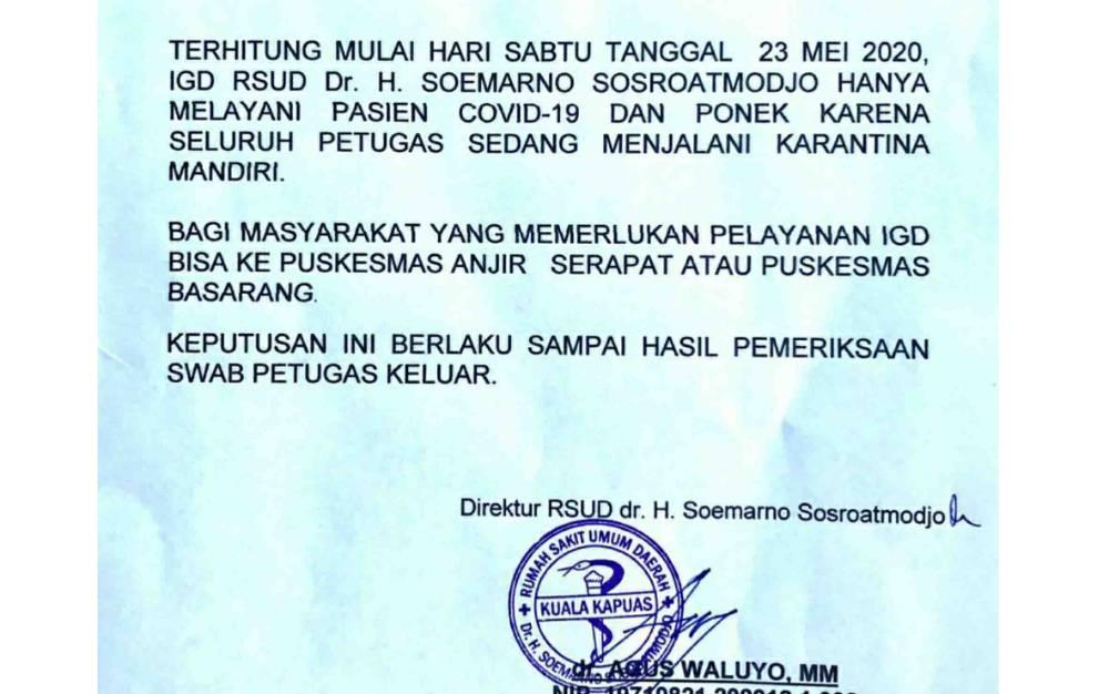 Pengumuman terkait pelayanan di IGD RSUD Kapuas.