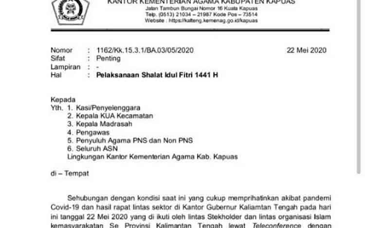 Surat Imbauan Kemanag Kapuas terkait Pelaksanaan Salat Idul Fitri 1441 H.