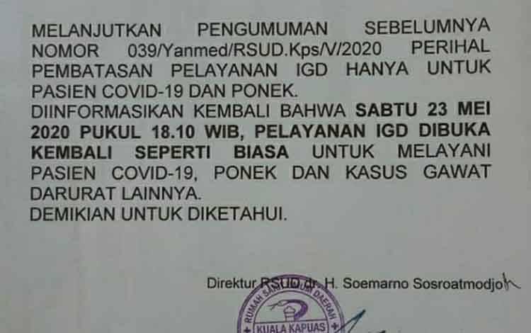 Surat pengumuman seluruh pelayanan IGD RSUD Kapuas dibuka kembali