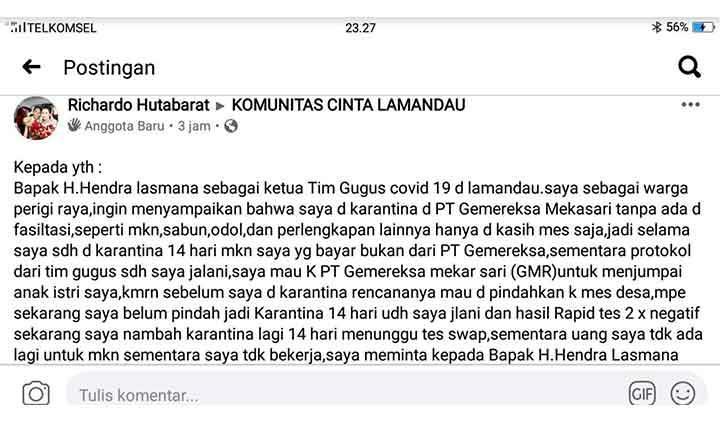 Screenshoot postingan warga yang bersurat ke Bupati di facebook.
