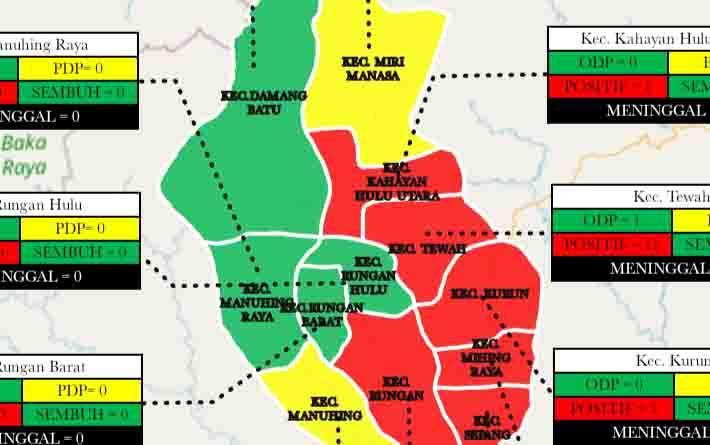 Grafis sebaran kasus covid-19 di Kabupaten Gunung Mas, Rabu, 17 Juni 2020.