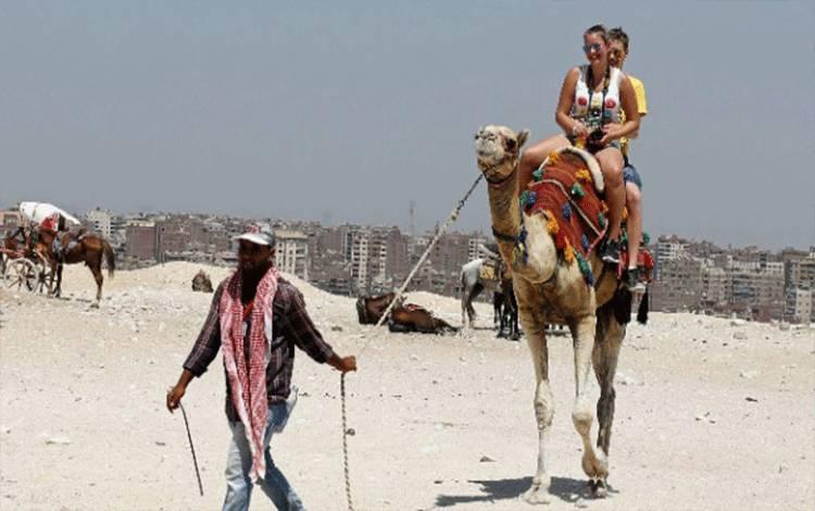 Pemandu menarik tali kekang unta yang dinaiki turis di area piramida Giza, di pinggiran Kairo, Mesir, 7 Agustus 2017. REUTERS/Mohamed Abd El Ghany