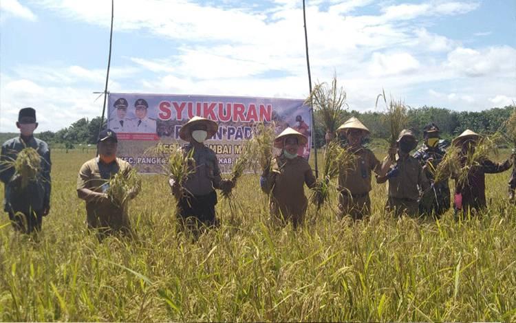 Syukuran dan sedekah bumi saat panen padi di Desa Berambai Makmur. Dinas TPHP Kobar siap berikan dukungan pemenuhan sarana prasarana petani dalam peningkatakan produktivitas.