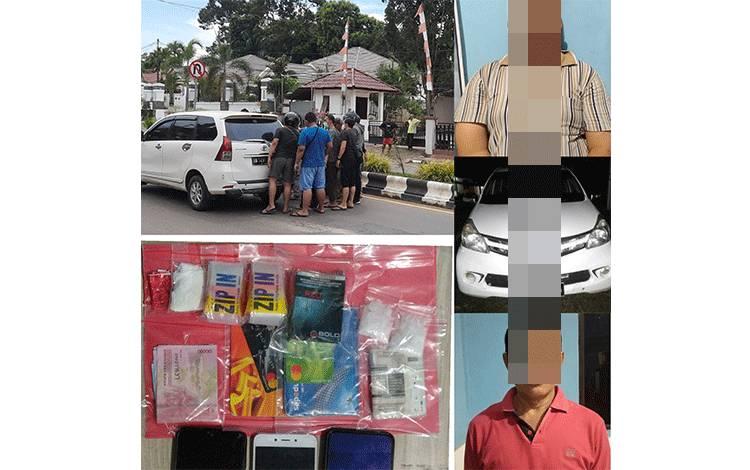 Tersangka kasus sabu dan barang bukti yang disita polisi.