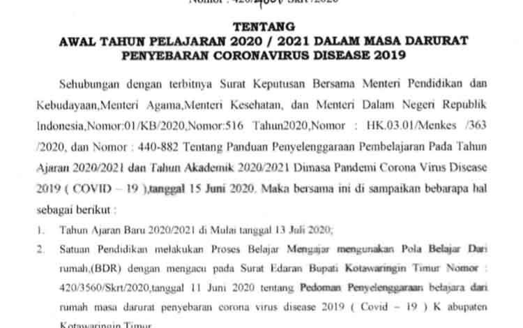 Surat edaran Bupati Kotim, tahun ajaran baru dimulai 13 Juli 2020, namun tetap belajar dari rumah.