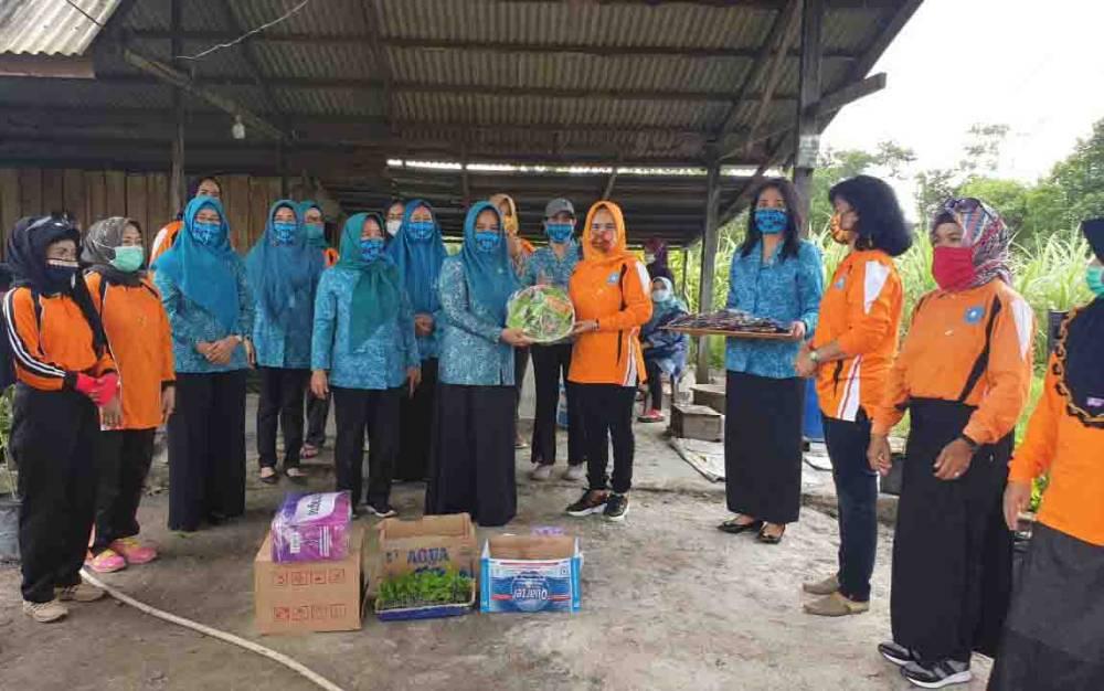Penyerahan bantuan bibit dan masker untuk TP PKK Kotawaringin Barat dari TP PKK Kalimantan Tengah.