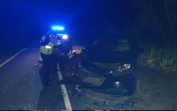 Kondisi kendaraan terlibat kecelakaan satu korban tewas, di ruas Jalan Lintas Palangka Raya - Buntok, tepatnya di Desa Timpah, Kecamatan Timpah, Kabupaten Kapuas pada Senin malam, 27 Juli 2020.
