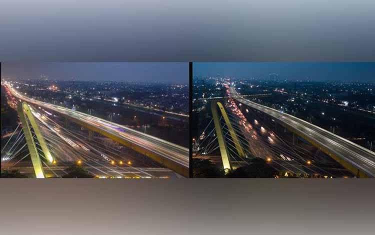 Foto kolase jalan tol layang Jakarta-Cikampek saat pengoperasian perdana (kiri) dan suasana saat penutupan (kanan) akibat penyebaran virus Corona, di Tambun, Kabupaten Bekasi, Jawa Barat, Senin, 4 April 2020. ANTARA/Fakhri Hermansyah