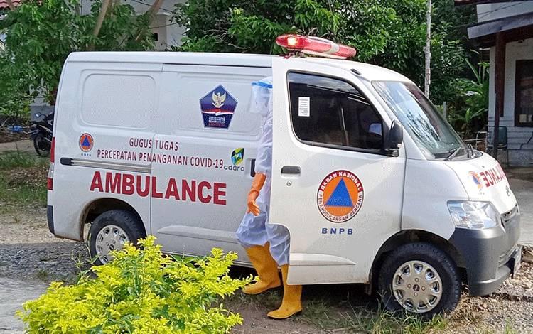 Ambulance Gugus Tugas Percepatan Penanganan covid-19 Kabupaten Barito Timur, usai menjemput pasien covid-19.