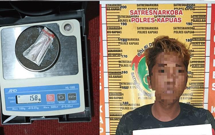 Pelaku dan barang bukti kasus sabu saat diamankan Satresnarkoba Polres Kapuas.