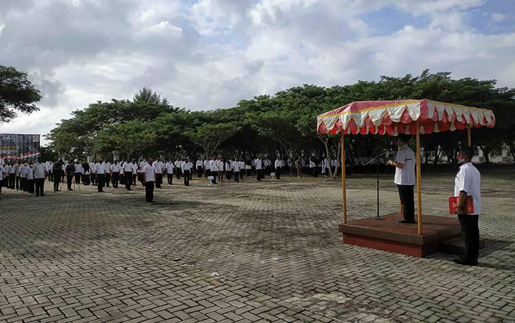 Apel peringatan hari jadi ke 18 Kabupaten Seruyan di halaman kantor Bupati Seruyan, Rabu, 5 Agustus 2020.